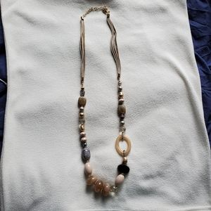 Chicos Gold Lucite Shell Leather Long Necklace
